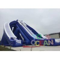 Quality Giant Blue Color PVC Beach Inflatable Triple Hippo , Inflatable Water Slide for for sale