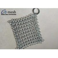 China 4X4 Inch Ring Mesh Stainless Steel Pot Scrubber For Kitchen Square Shape wholesale