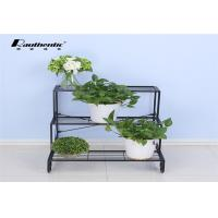 China Removable Three Layer Flower Pot Storage Rack Wrought Iron Green Space Style wholesale