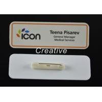 Quality Customized Gloss Varnish White Magnetic Plastic Name Badges With Pin for sale