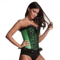 China Green Sexy 3XL Bustier And Corset Lace Up Corset Waist Trainer wholesale