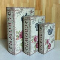 Wholesale Antique crown nice rose Home decoration book shape wood box Wholesale wooden storage Box pvc nice design from china suppliers