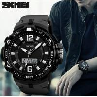 China Skmei Fashion 3 Time Men Vogue Multifunction Outdoor Sport Watches Chrono 5 ATM PU Band Wrist Watches 1273 wholesale