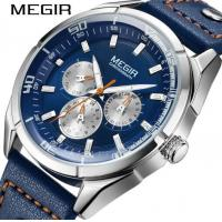 Quality Wholesale Megir Gentleman Feelings Quality Blues Genuine Leather Band Multifunction Chronograph Wrist Watches  2072G for sale