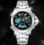 China SBAO Men Dual Time 1/100 Second Chronograph Steel Strap Fashion Sport Wrist Luminous Watches S-9005 wholesale