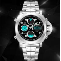 China SBAO Men Dual Time 1/100 Second Chronograph Steel Strap Fashion Sport Wrist Luminous Watches S-9005 wholesale