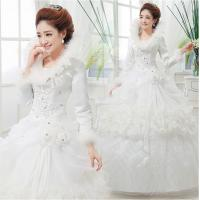 China High Collar Beaded puffy Ball Gown Wedding dress with Long Sleeve for Spring , Autumn wholesale