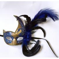 "China Colombina Plastic mask with ostrich feather     13"" PF0803R GOLD wholesale"