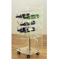 China Clear Acrylic Rolling Two Shelf Pure Acrylic Tea Serving Cart with Casters Acrylic Dining Serving Cart with Wheels wholesale