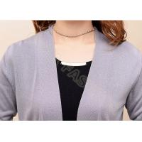 Long Fine Knit Womens Cashmere Sweaters , Solid Color Womens Cardigan Sweaters
