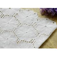 China Swiss Voile 100% Cotton Lace Fabric , Embroidery Guipure Lace Fabric For Lady Dress wholesale
