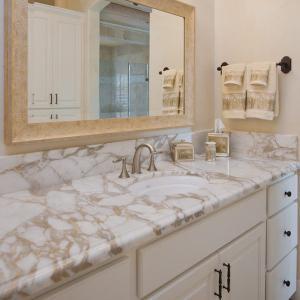 G682 Granite Natural Stone Countertops , Granite Bathroom Countertop With Single Ceramic Wash Basin