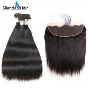 China Silandahair Brazilian Straight Hair Weave 3 Bundles Human Hair With 13X4 Lace Closure on sale