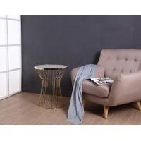 China Inspire Q Cyril Metal Drum Coffee Table Frosted Glass Top For Living Room wholesale