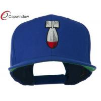 China Royal Missile Flat Bill Embroidered Wool Baseball Caps with Plastic Snap Closure wholesale