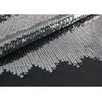 China Embroidered Mesh Lace Fabric With Silver Sequin , Bridal Lace Fabric By The Yard wholesale