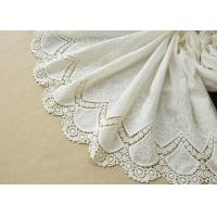 China Customized Embroidery Cotton Lace Fabric By The Yard For Dress Cloth Off White Color wholesale