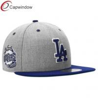 China Grey LA Doogers Sports Flat Brim Baseball Hats with Wool and Acrylic wholesale