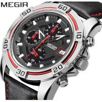 Quality Wholesale MEIGIR Men Fashion Genuine Leather Strap Multifunction Chronograph Luminous Racing Wrist Watches  2023G for sale