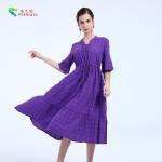 China Female Plus Size Cotton Summer Dresses Short Sleeve With Garment Dyed Technic wholesale