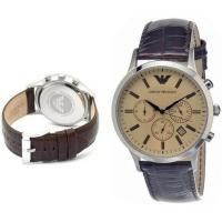 China Wholesale New Emporio Armani AR2433 Brown Leather Amber Crystal Classic Men's Watch wholesale