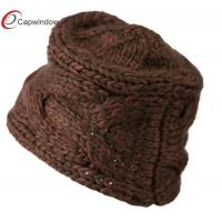 China Brown Pink Thick Acrylic Knit Winter Hats Woven with Warm Material wholesale