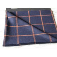 Quality Business Casual Style Plaid Tartan Fabric , Dark Blue Tartan Fabric Wool With Orange Line for sale