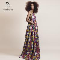 China Elegant V Neck African Print Dresses Special Design For Women Africa Clothing wholesale