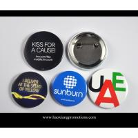 China Custom Full Color Printed Logo Clear Lamination Round Tin Button Badge wholesale