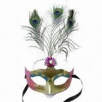 China Mask with Peacock Feather and Band, Made of Plastic wholesale