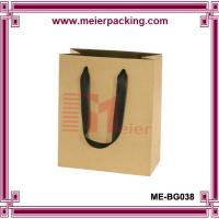 China Kraft Paper Bags with Flat Ribbon Handle/Carrier Shopping Paper Bag ME-BG038 on sale