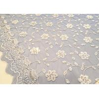 China Embroidered White And Blue Sequin Floral Lace Fabric With Scalloped Edging wholesale