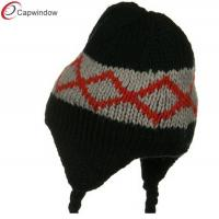 China Black Kids Zig Zag Peruvian Knit Winter Hats Acrylic For Children wholesale