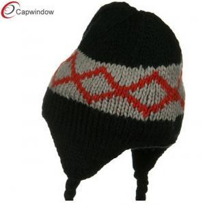 Quality Black Kids Zig Zag Peruvian Knit Winter Hats Acrylic For Children for sale