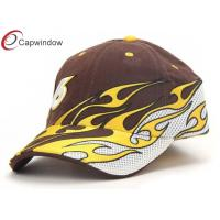 China Flame Embroided Cotton Racing Baseball Caps Velcro Strap Hats For Spring wholesale