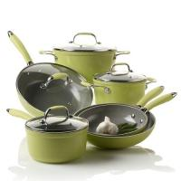 China 10 Pcs Green Aluminum Forged Non Stick Pan Set Kitchen Ware wholesale