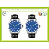 China Blue Dial Automatic Mechanical Watch , Black Leather Strap Mens Watch on sale