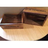 China Dark Wood Engraved Custom Wood Serving Tray , Small Wooden Trays Boxes For Cigar wholesale