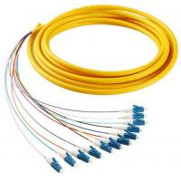 Buy cheap 12 cores LC/UPC SM 9/125 fiber optic bundle pigtail yellow LSZH  out jacket from wholesalers