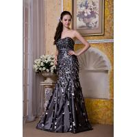 China Luxurious Silver Strapless Mermaid Taffeta Sweep Train Evening Party Gowns With Sequins wholesale
