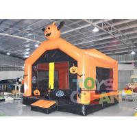 China Halloween Theme Inflatable Bounce House , Inflatable Pumpkin Moonwalk Jumping Bounce wholesale