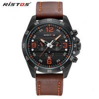 Quality RISTOS New Men Multifunction Genuine Leather Strap Waterproof 30m Fashion Sport for sale