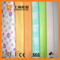 China Absorbent Chemical Bond Non Woven Cleaning Cloth Blue Wave Line Square Pattern wholesale