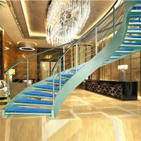 China Luxury curved glass staircase for sale wholesale