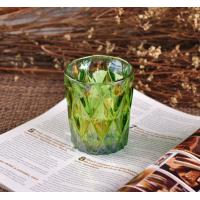 China OEM Ion Plating Decorative Glassware Candle Container , Decorative Glass Jars In Green Brown wholesale
