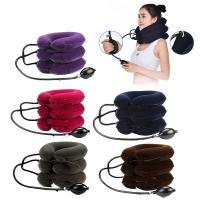 China Comfortable Heated Neck Massager Inflatable Collar Suede Material For Neck Pain Relief wholesale