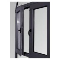 Quality Tempered Glass Replacing Double Aluminium Casement Windows Dark Gray ISO 9001 / for sale
