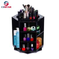 China Hexagon shaped rotate fancy makeup organizer tower carousel plastic cosmetic spinning organizer wholesale