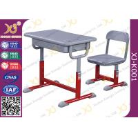 China Iron Structure Primary Student Kids School Table And Chairs With Non Slip Feet wholesale