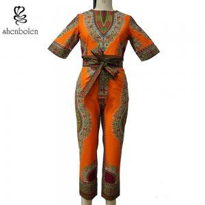 China Yellow Dashiki African Print Jumpsuit Designs , African Wax Prints Pants wholesale